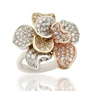 Effy Jewelers Pave Rose Diamond Ring in 14k Tri Color Gold