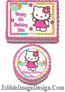 HELLO KITTY FLOWER BALLON Birthday Edible Party Cake Image Cupcake