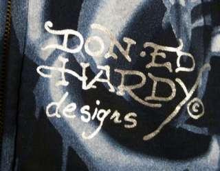 ED Hardy Mens FOILED Platinum beautiful Ghost Hoodie