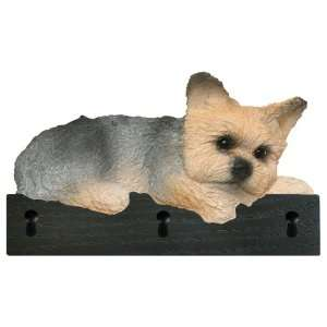 Puppy Cut Yorkie Dog Figurine Key Ring and Leash Holder