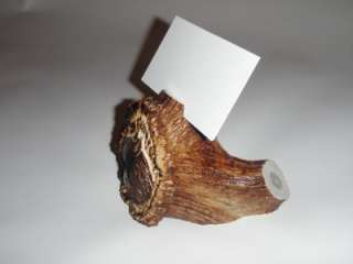 Elk Antler Business Card Holder Carved Wolf Head