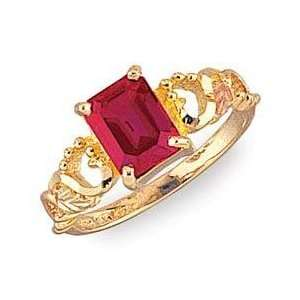 Stunning! 10kYellow gold Black Hills Gold Emerald Cut Ruby