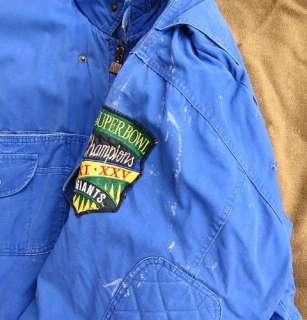 Vintage NEW YORK GIANTS NFL Super Bowl STADIUM COAT Jacket sz L Thick
