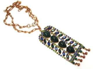 Necklace AMAZING Emerald Green Sapphire Blue Rhinestone Jewelry
