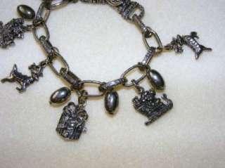 Silver Tone Christmas Charm Bracelet Vintage Estate Jewelry