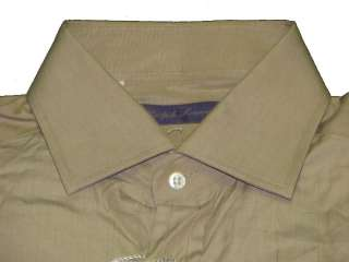 395 NWT RALPH LAUREN PURPLE LABEL MENS SOLID BEIGE BROWN DRESS SHIRT