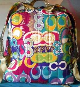 COACH POPPY POP C BACK PACK MULTI Color BOOK Bag LG Backpack 15292 LN