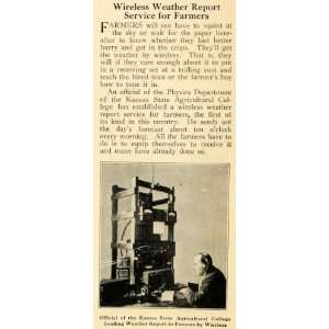 1921 Print Wireless Farm Weather Report Kansas College