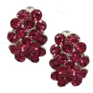 Erica Silver Fuchsia Crystal Clip On Earrings Jewelry