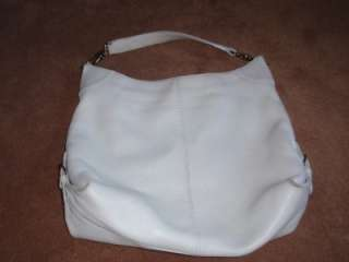 LARGE Dooney & Bourke White Ivory Soft Pebbled Leather Hobo Bag