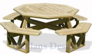 free picnic table plans octagon