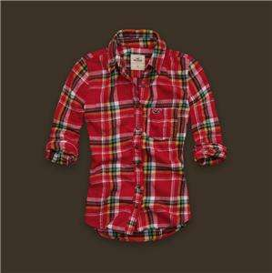 New Hollister Arch Bay Flannel Plaids Red Womens Shirt