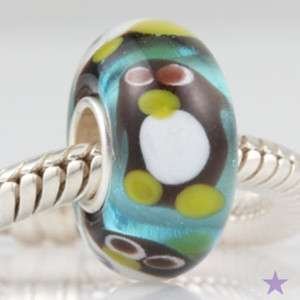 PENGUIN MURANO GLASS 925 Sterling Silver EUROPEAN BEAD Charm
