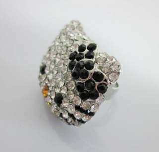 hello Kitty crystal bling Black bowknot ring xmas Gift