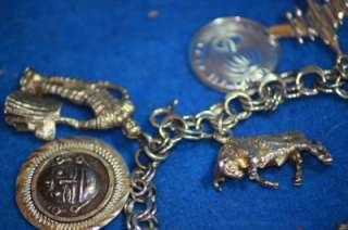 Silver Movable 12 Charm Bracelet Bobble Head Cat Scissors Horse