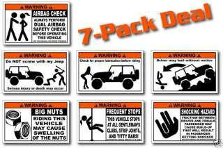 Pack Funny Jeep Warning Stickers Decals TJ XJ CJ YJ
