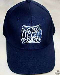 NO FEAR NAVY BLUE CHOPPER CROSS Ball Cap Hat BIKER Logo
