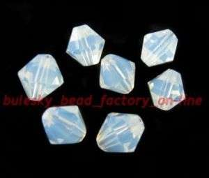 100pcs Faceted Glass Crystal Bicone Bead 6mm Opal