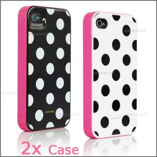 2X Black White Polka Dots 3in1 Cover Case for Apple iPhone 4 4s Screen