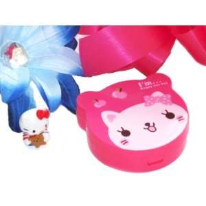 Cartoon Kitty Contact Lens Case Box   Hot Pink with Bonus