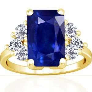 Gold Emerald Cut Blue Sapphire Fana Designer Ring (GIA Certificate