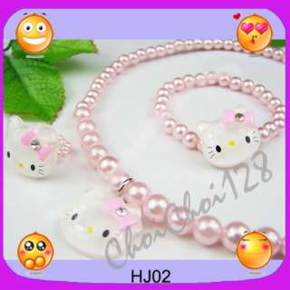 Hello Kitty Jewel Pearl Necklace Bracelet Ring ONE SET For Kids