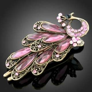 fashion pink peacock swarovski crystal hair clip sku h0036 up for sale