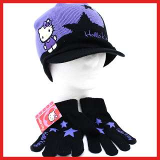 Sanrio Hello Kitty Beanie Cap Glove Set Purple Star2PC