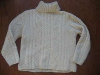 Paul James vtg 100% wool turtleneck Cable knit Irish sweater England M