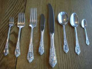 TRUE DINNER SZ*WALLACE**ROSE POINT**STERLING FLATWARE SET*S 12+RARE