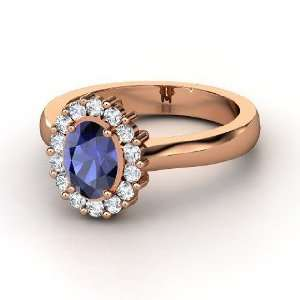 Princess Kate Ring, Oval Sapphire 14K Rose Gold Ring with