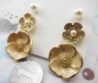 Forever 21 Flower Gold Plate Earring Stud 3 in One Set