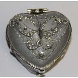 Heart Shaped Glass Jewelry Trinket Box with Butterly