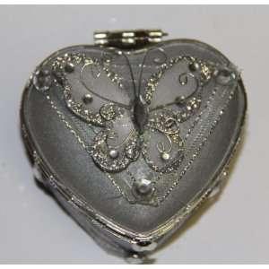Heart Shaped Glass Jewelry Trinket Box wi Butterly