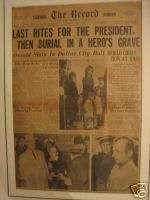 President John Kennedy Newspaper November 25 1963