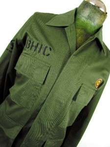 mens army green INNOCENT CLOTHING BHIC button military shirt jacket