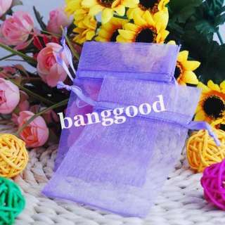 100pcs Lt. Purple Organza Jewelry Pouch Wedding Party Favor Gift Bags