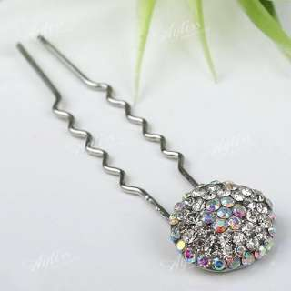 AB Clear Crystal Button Wedding Girl Hair Hairpin 1P