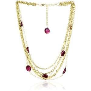 Karen London Red Electric Coin Pearl Multi Chain Collar
