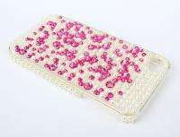 bling pearl olivet hot pink Rhinestone cover hard case for Apple