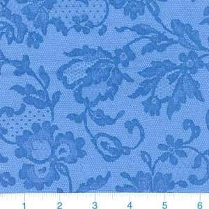 45 Wide Lace Shadows French Blue Fabric By The Yard
