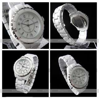 NEW HOURS CLOCK DIAL BEST LADIES FASHION CERAMIC WHITE STEEL WRIST