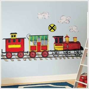TRAIN WALL DECAL MURAL Boys Room Trains Stickers Nursery Decorations