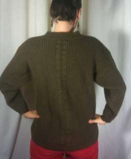 Vintage 80s Womens GAP WOOL Warm Cable Knit Sweater M Olive