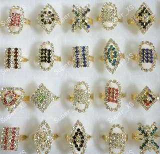 jewelry lots 30pcs full of rhinestones gold plated Rings