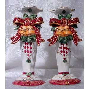 SET OF 2 CHRISTMAS 8 CERAMIC TAPER CANDLE HOLDERS (24K