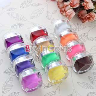 Home Beautiful 12 Color Salon Glitter Gel Glue UV Nail Art Acrylic