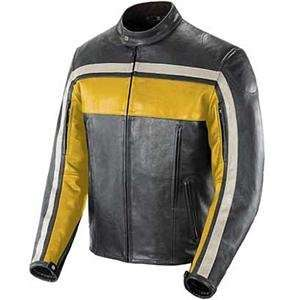 Joe Rocket Old School Leather Jacket   X Large/Yellow/Black