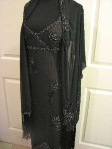 Sue Wong Nocturne, Beaded Cocktail Dress Formal Gown w/Beaded Shawl