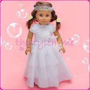 Handmade WHT wedding Dress Gown for American Girl Doll